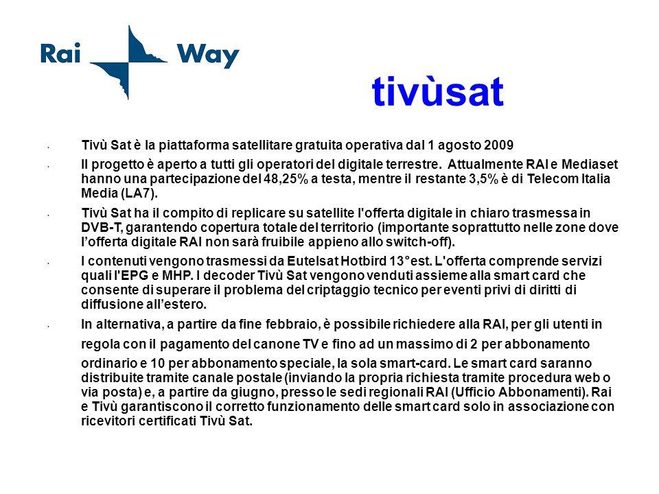 tivùsat Tivù Sat è la piattaforma satellitare gratuita operativa dal 1 agosto 2009 Il progetto è aperto a tutti gli operatori del digitale terrestre.