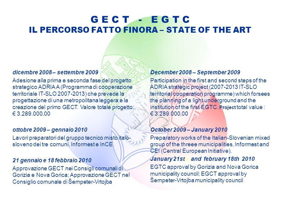 G E C T - E G T C IL PERCORSO FATTO FINORA – STATE OF THE ART dicembre 2008 – settembre 2009 Adesione alla prima e seconda fase del progetto strategico ADRIA A (Programma di cooperazione territoriale IT-SLO 2007-2013) che prevede la progettazione di una metropolitana leggera e la creazione del primo GECT.