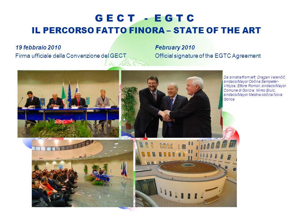 G E C T - E G T C IL PERCORSO FATTO FINORA – STATE OF THE ART 19 febbraio 2010 Firma ufficiale della Convenzione del GECT February 2010 Official signa
