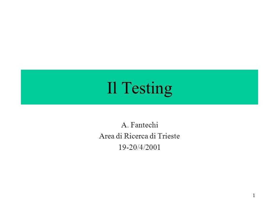 1 Il Testing A. Fantechi Area di Ricerca di Trieste 19-20/4/2001