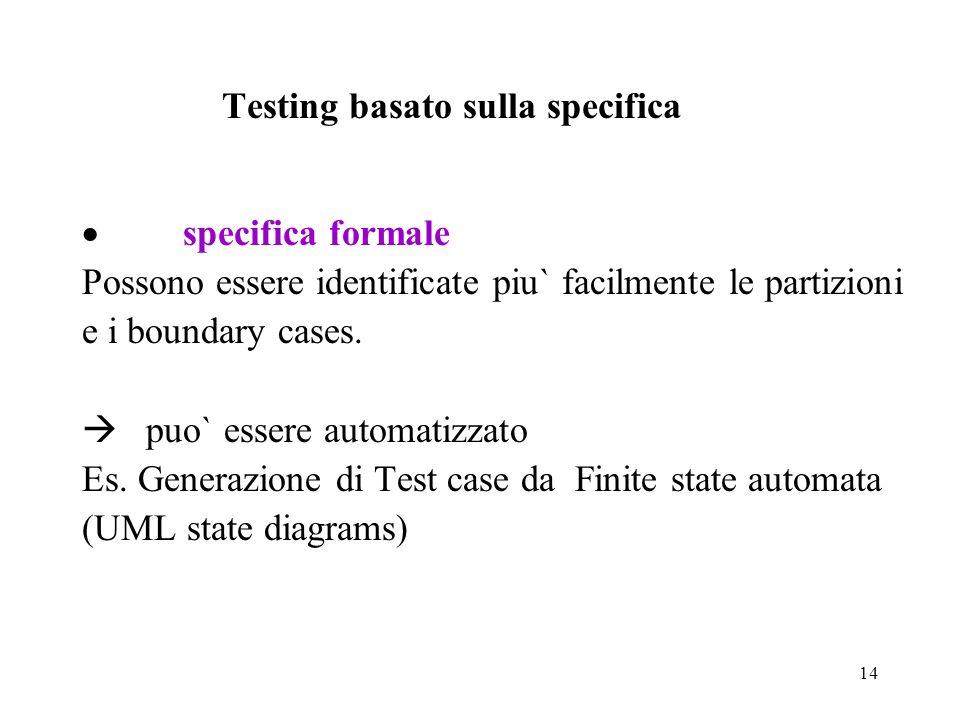 14 Testing basato sulla specifica specifica formale Possono essere identificate piu` facilmente le partizioni e i boundary cases.