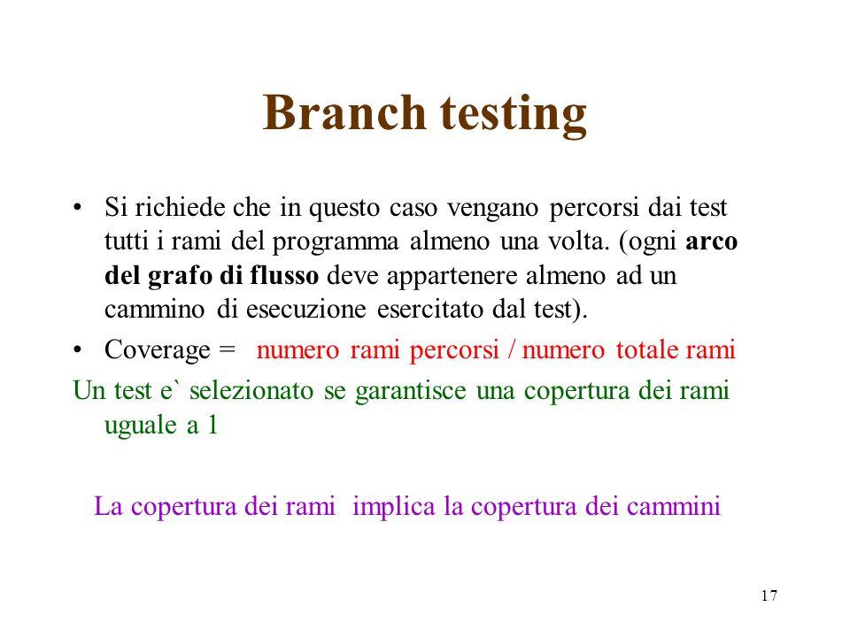 17 Branch testing Si richiede che in questo caso vengano percorsi dai test tutti i rami del programma almeno una volta.