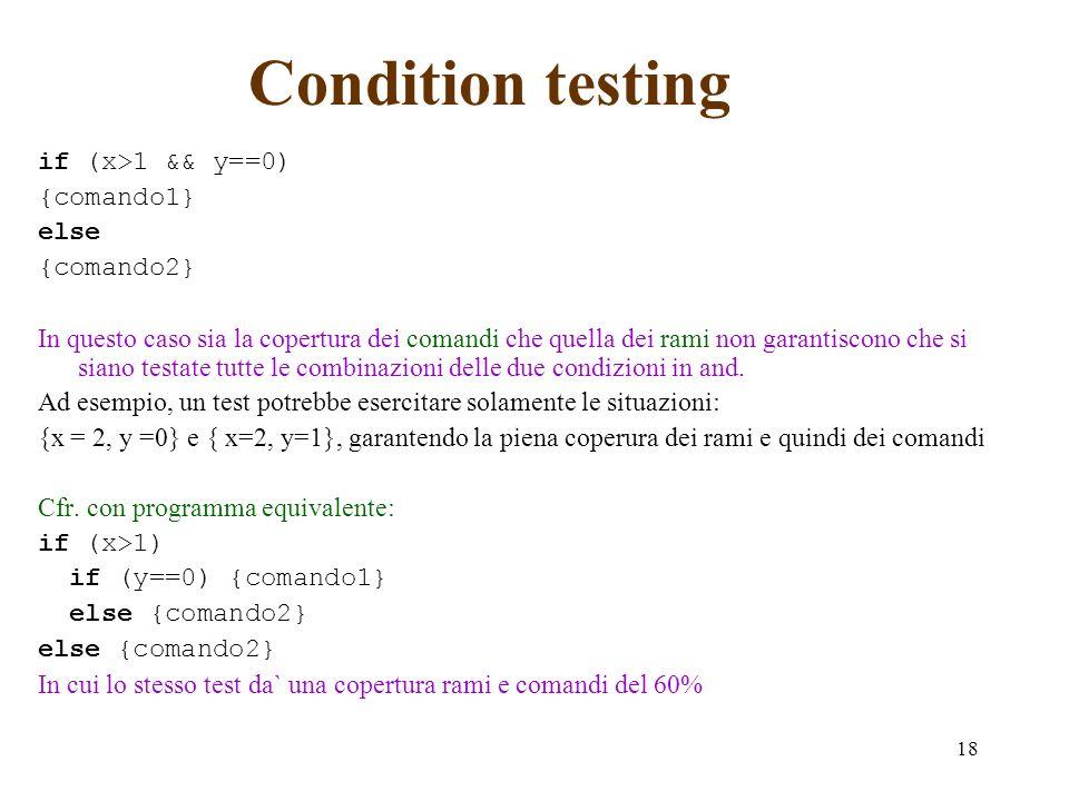 18 Condition testing if (x>1 && y==0) {comando1} else {comando2} In questo caso sia la copertura dei comandi che quella dei rami non garantiscono che si siano testate tutte le combinazioni delle due condizioni in and.