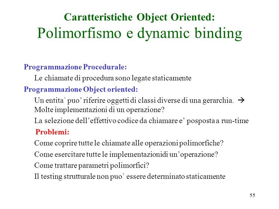 55 Caratteristiche Object Oriented: Polimorfismo e dynamic binding Programmazione Procedurale: Le chiamate di procedura sono legate staticamente Programmazione Object oriented: Un entita` puo riferire oggetti di classi diverse di una gerarchia.