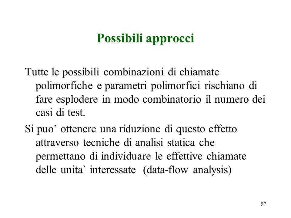 57 Possibili approcci Tutte le possibili combinazioni di chiamate polimorfiche e parametri polimorfici rischiano di fare esplodere in modo combinatorio il numero dei casi di test.