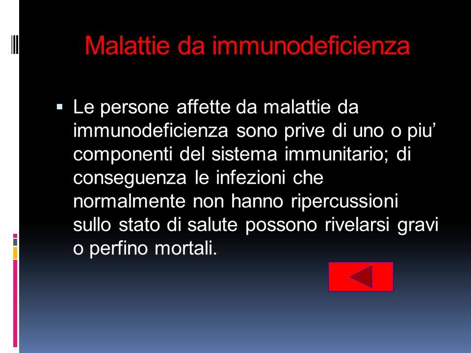 Malattie da immunodeficienza Le persone affette da malattie da immunodeficienza sono prive di uno o piu componenti del sistema immunitario; di consegu