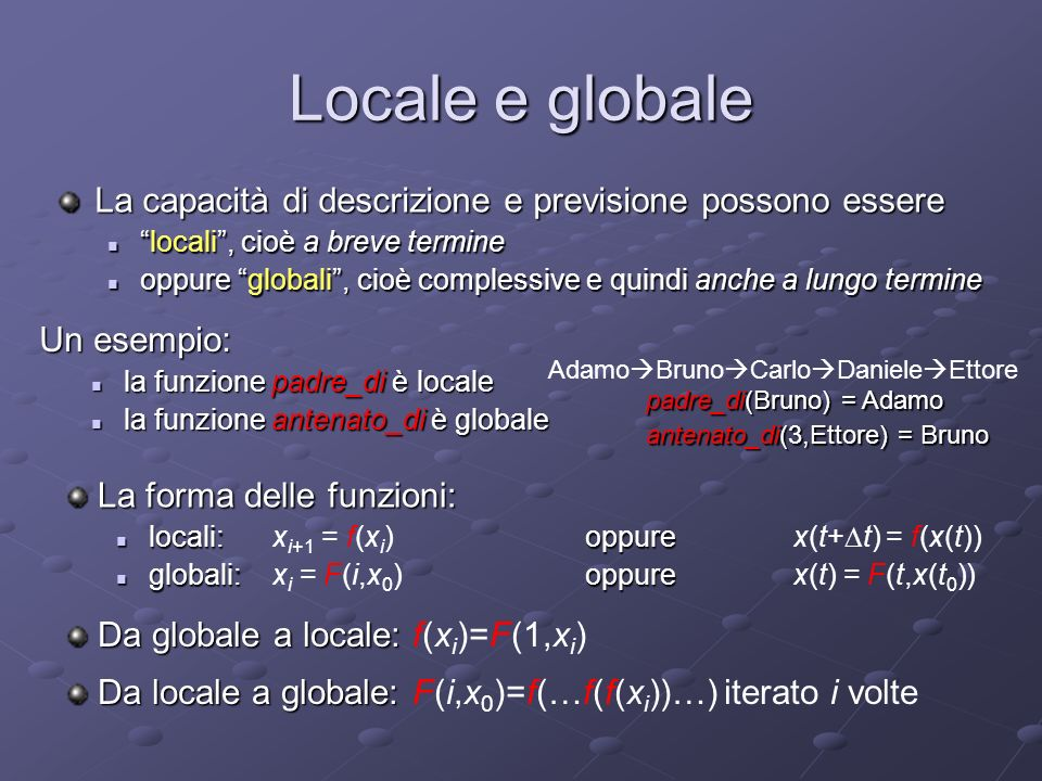 Equazioni dinamiche locali e globali Le equazioni della fisica sono tipicamente globali, dunque della forma: x(t) = F(t,x(t 0 )) per esempio: x(t)= A e -Bt cos(2 Ct) lequazione delloscillatore armonico smorzato Equazioni di questo genere forniscono una conoscenza appunto globale sulla dinamica del sistema (e da esse sono agevolmente ricavabili le corrispondenti equazioni locali)