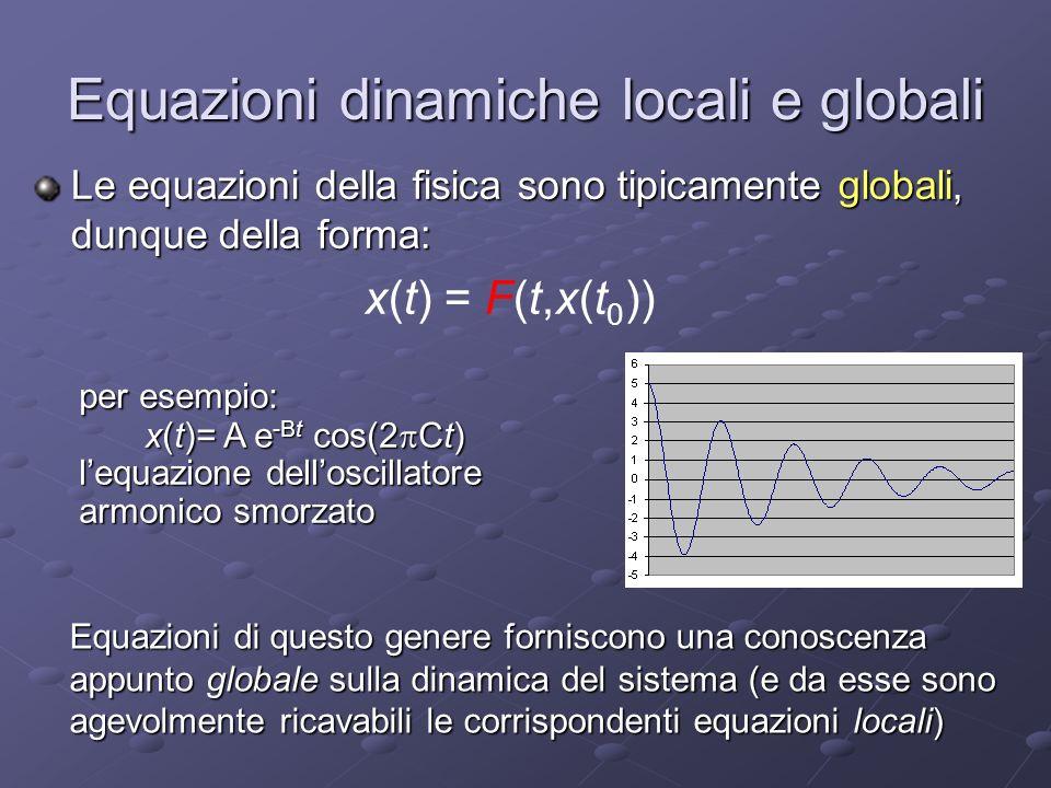 Equazioni dinamiche locali e globali Le equazioni della fisica sono tipicamente globali, dunque della forma: x(t) = F(t,x(t 0 )) per esempio: x(t)= A