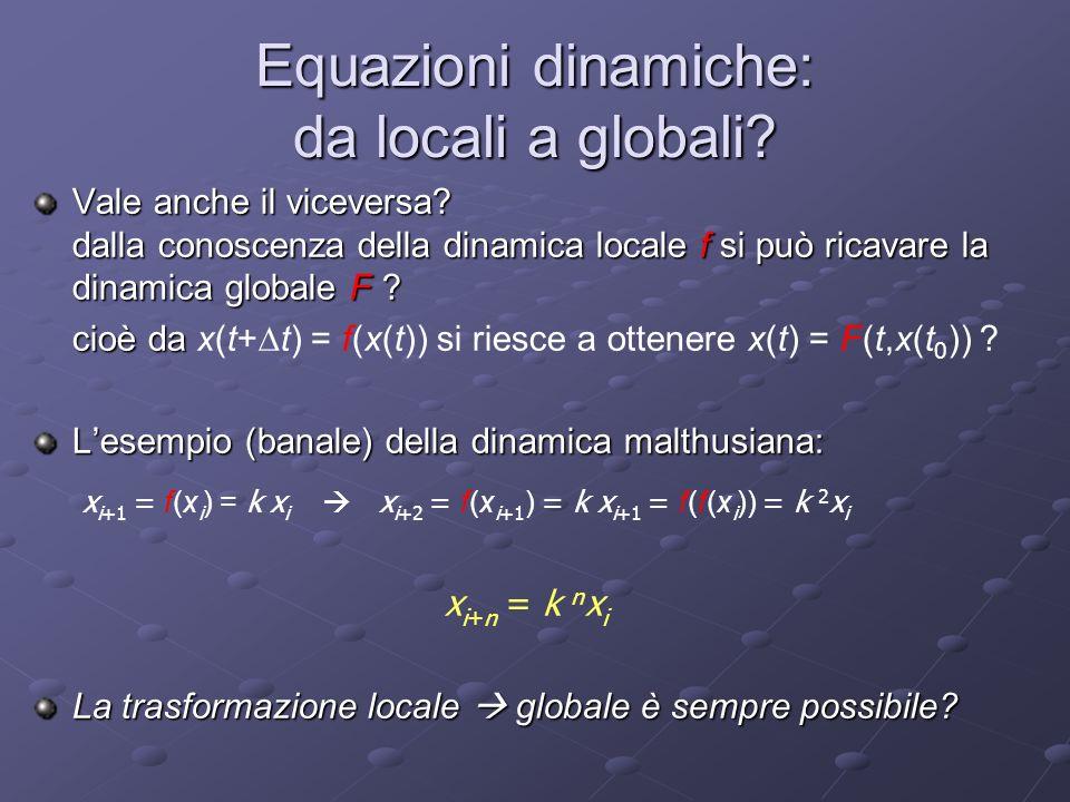 Equazioni dinamiche: da locali a globali? Vale anche il viceversa? dalla conoscenza della dinamica locale f si può ricavare la dinamica globale F ? ci