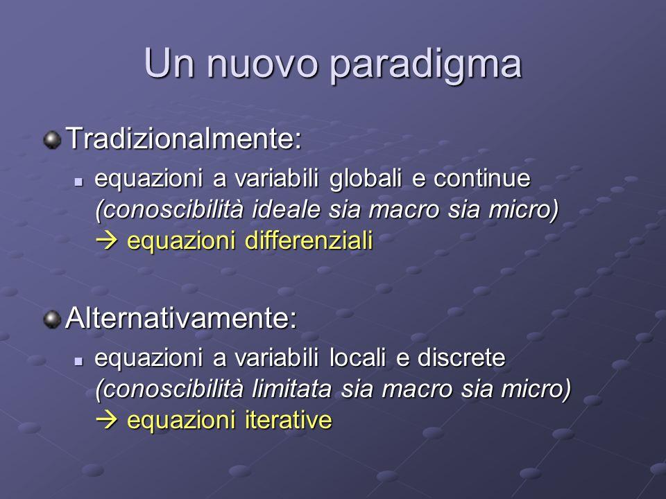 Un nuovo paradigma Tradizionalmente: equazioni a variabili globali e continue (conoscibilità ideale sia macro sia micro) equazioni differenziali equaz