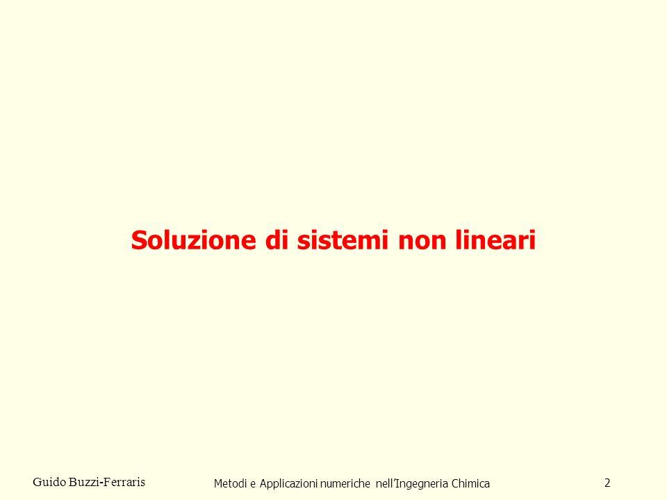 Metodi e Applicazioni numeriche nellIngegneria Chimica 3 Guido Buzzi-Ferraris In che cosa consiste il problema della soluzione di sistemi non lineari.