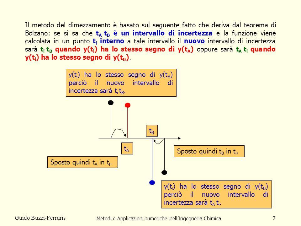 Metodi e Applicazioni numeriche nellIngegneria Chimica 18 Guido Buzzi-Ferraris Esempio Si desidera trovare gli zeri della funzione: Nellintervalol t Min = 0 t Max = 7 La funzione non può essere calcolata qunado 720.+t*(-720.+(t-1.) *(360.+(t- 2.) * (-120.+ (t-3.)*(30.+(t-4.)*(-11.+t))))) è minore o uguale a 0 La funzione ha sei soluzioni entro lintervallo