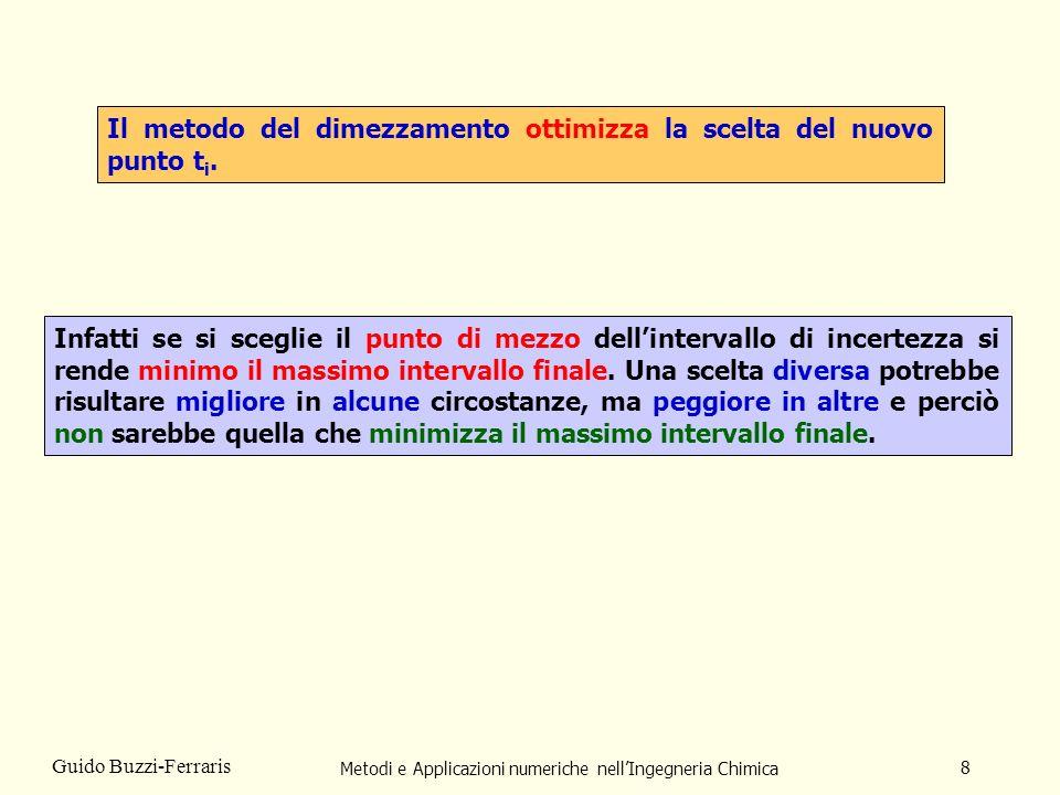 Metodi e Applicazioni numeriche nellIngegneria Chimica 9 Guido Buzzi-Ferraris Vantaggi del metodo del dimezzamento Svantaggi del metodo del dimezzamento Il metodo converge sempre alla soluzione.