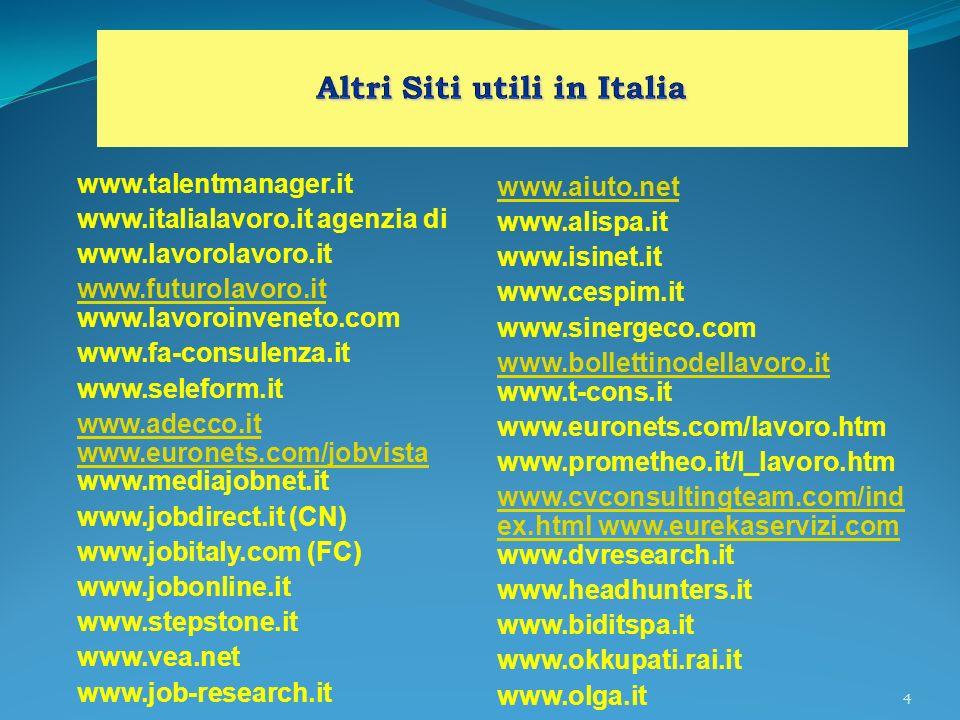 5 www.agenzia-lavoro.com www.profiliecarriere.it www.contattolavoro.it www.bancattiva.it www.psicopolis.com www.psicopolis.com www.interinaleitalia.it www.media-work.it (PG) www.jobpost.it www.sudlavoro.it www.job-net.it www.e-lavoro.com www.e-lavoro.com www.gojobsite.it www.agenzialavoro.tn.it (TN) www.altorisparmio.com (SI) cyberdays.stet.it/job www.forumlavoro.com www.lavoronline.com
