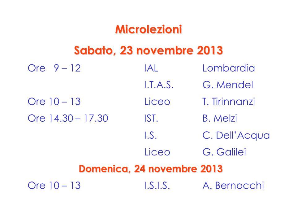Ore 9 – 12IAL Lombardia I.T.A.S. G. Mendel Ore 10 – 13Liceo T. Tirinnanzi Ore 14.30 – 17.30IST. B. Melzi I.S.C. DellAcqua Liceo G. Galilei Domenica, 2