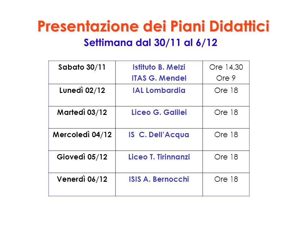 Presentazione dei Piani Didattici Settimana dal 30/11 al 6/12 Sabato 30/11Istituto B. Melzi ITAS G. Mendel Ore 14,30 Ore 9 Lunedì 02/12IAL Lombardia O