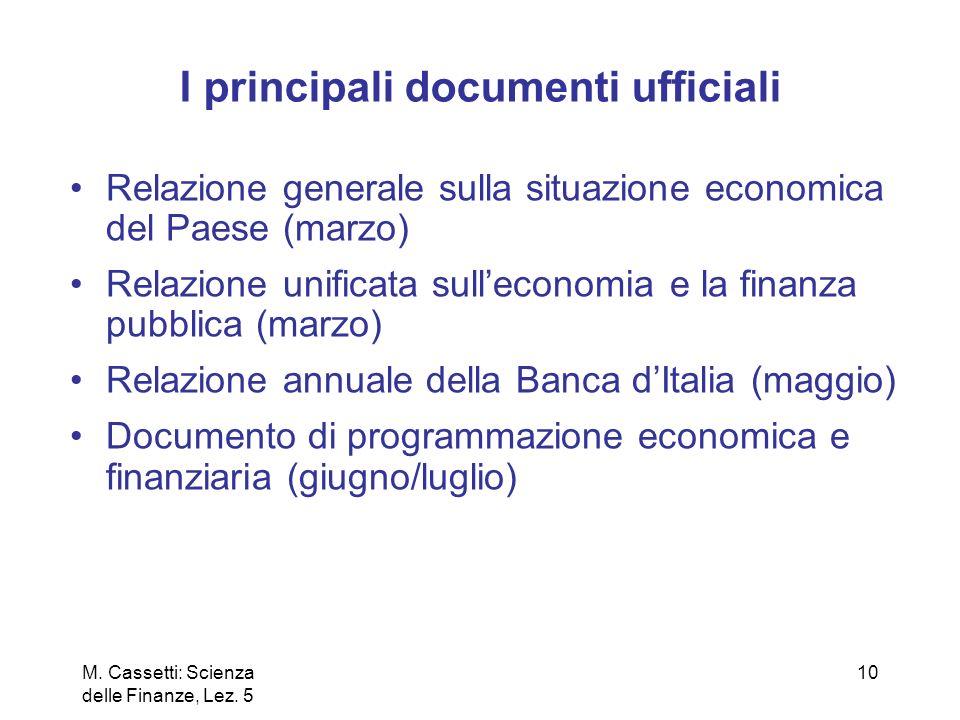 10 I principali documenti ufficiali Relazione generale sulla situazione economica del Paese (marzo) Relazione unificata sulleconomia e la finanza pubb