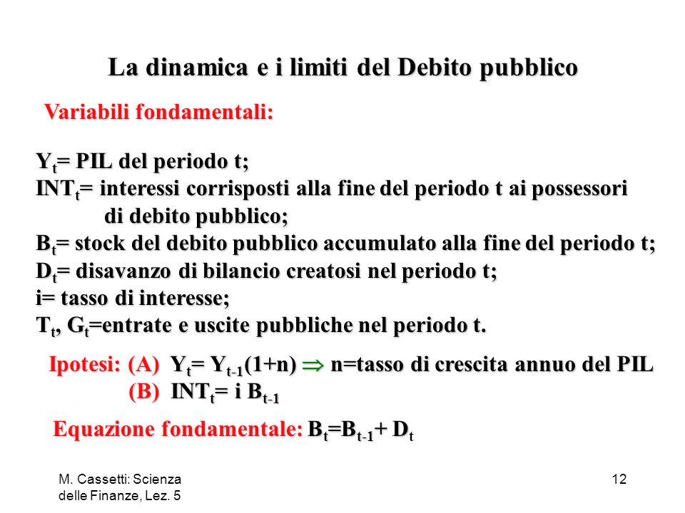 M. Cassetti: Scienza delle Finanze, Lez. 5 12 Variabili fondamentali: Y t = PIL del periodo t; INT t = interessi corrisposti alla fine del periodo t a