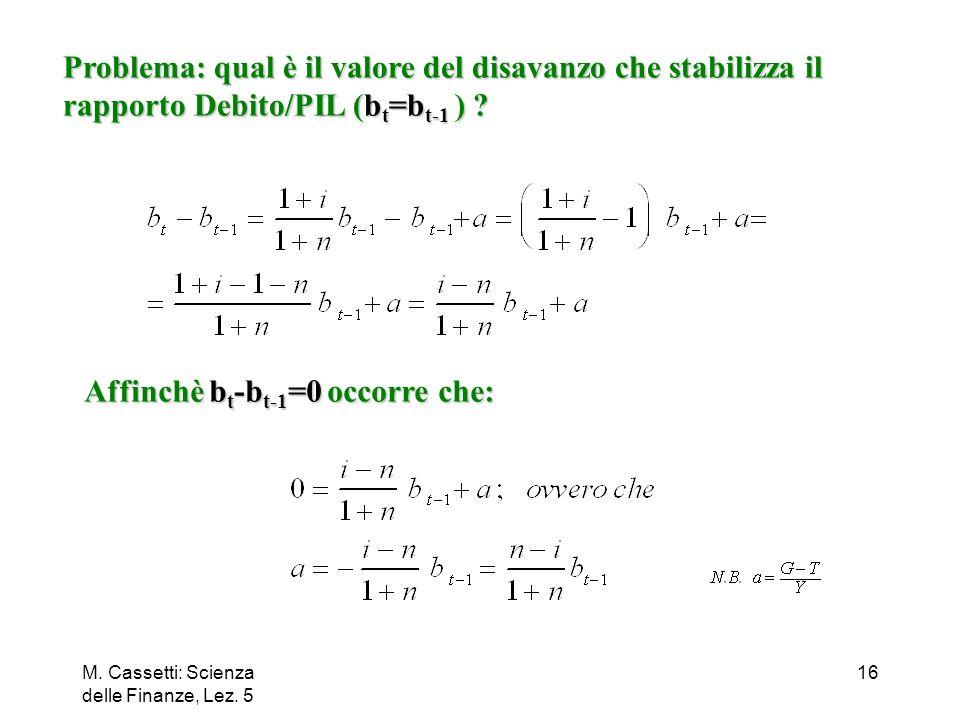 M. Cassetti: Scienza delle Finanze, Lez. 5 16 Problema: qual è il valore del disavanzo che stabilizza il rapporto Debito/PIL (b t =b t-1 ) ? Affinchè