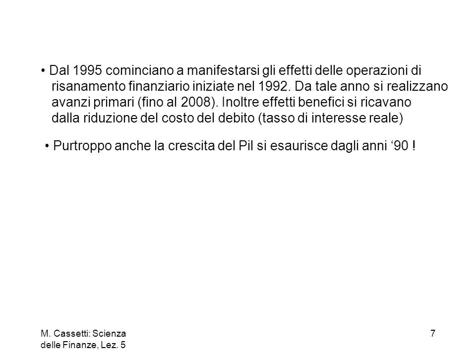 M. Cassetti: Scienza delle Finanze, Lez. 5 7 Dal 1995 cominciano a manifestarsi gli effetti delle operazioni di risanamento finanziario iniziate nel 1