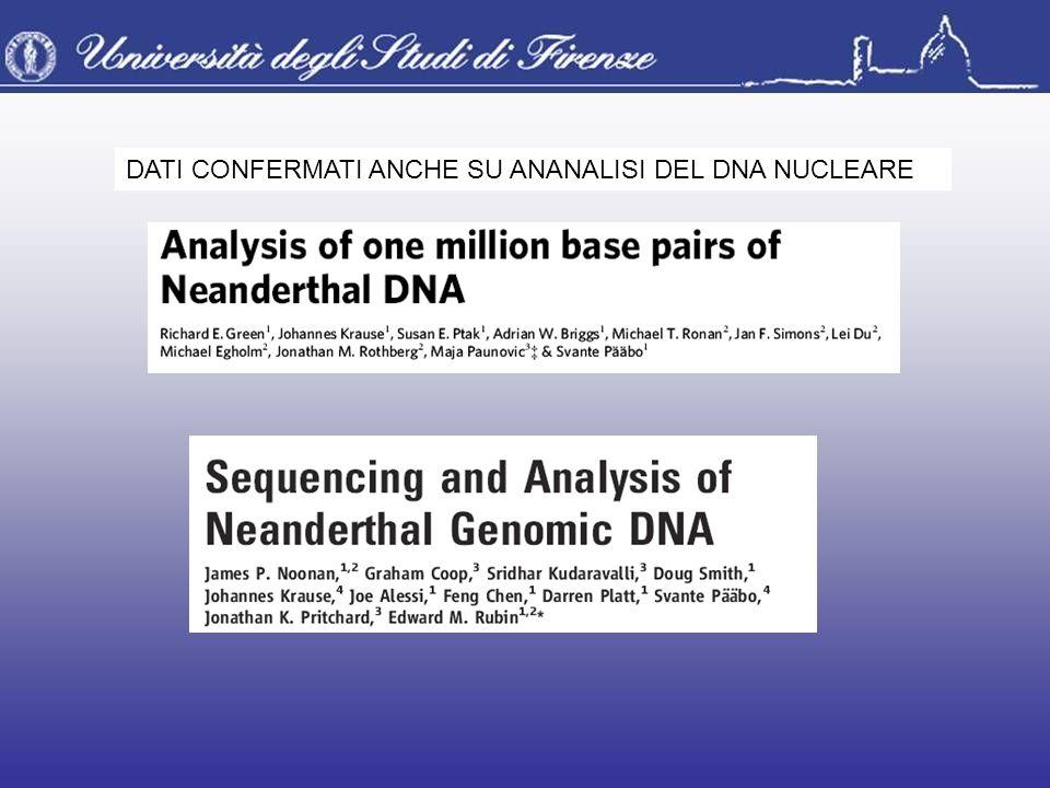 DATI CONFERMATI ANCHE SU ANANALISI DEL DNA NUCLEARE