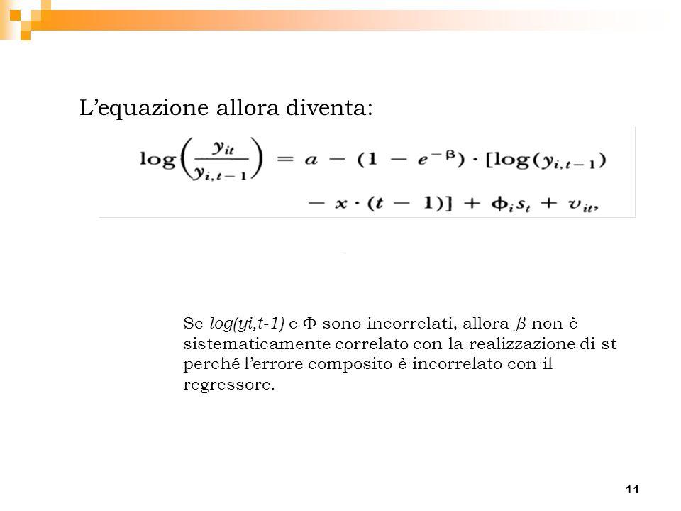 11 Lequazione allora diventa: Se log(yi,t-1) e Φ sono incorrelati, allora β non è sistematicamente correlato con la realizzazione di st perché lerrore