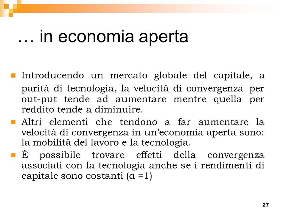 27 Introducendo un mercato globale del capitale, a parità di tecnologia, la velocità di convergenza per out-put tende ad aumentare mentre quella per r