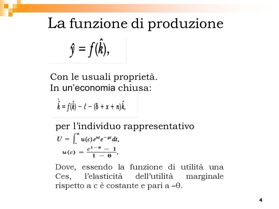4 La funzione di produzione per lindividuo rappresentativo Dove, essendo la funzione di utilità una Ces, lelasticità dellutilità marginale rispetto a