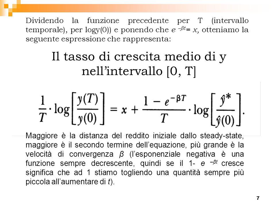 7 Dividendo la funzione precedente per T (intervallo temporale), per logy(0)) e ponendo che e –βt = x, otteniamo la seguente espressione che rappresen