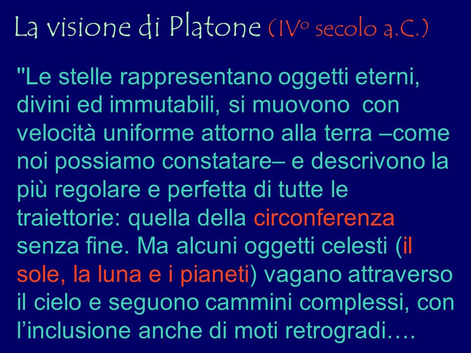 La visione di Platone (IV o secolo a.C.) ''Le stelle rappresentano oggetti eterni, divini ed immutabili, si muovono con velocità uniforme attorno alla