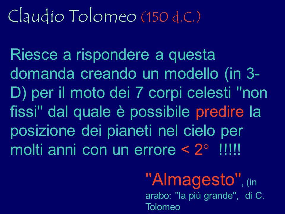 Claudio Tolomeo (150 d.C.) Riesce a rispondere a questa domanda creando un modello (in 3- D) per il moto dei 7 corpi celesti ''non fissi'' dal quale è