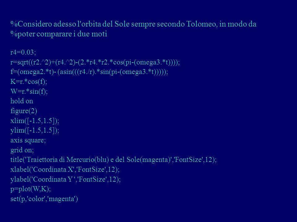 %Considero adesso l'orbita del Sole sempre secondo Tolomeo, in modo da %poter comparare i due moti r4=0.03; r=sqrt((r2.^2)+(r4.^2)-(2.*r4.*r2.*cos(pi-