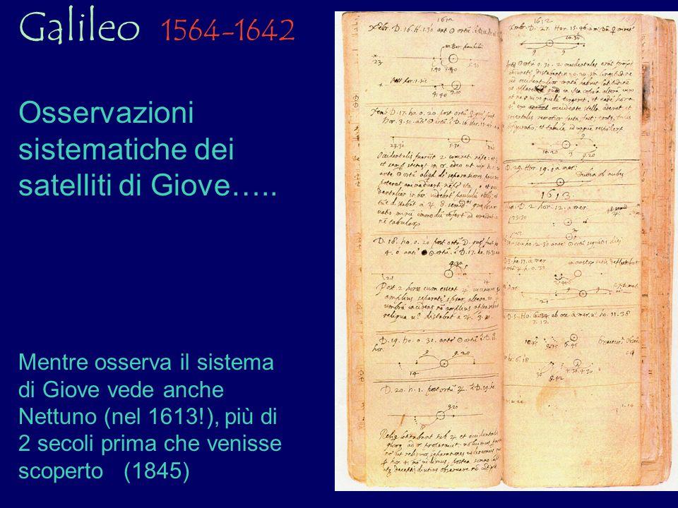 Galileo 1564-1642 Osservazioni sistematiche dei satelliti di Giove….. Mentre osserva il sistema di Giove vede anche Nettuno (nel 1613!), più di 2 seco