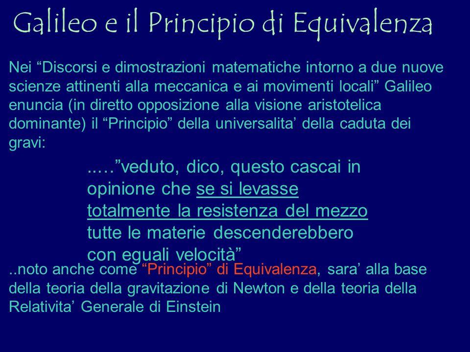 Galileo e il Principio di Equivalenza Nei Discorsi e dimostrazioni matematiche intorno a due nuove scienze attinenti alla meccanica e ai movimenti loc