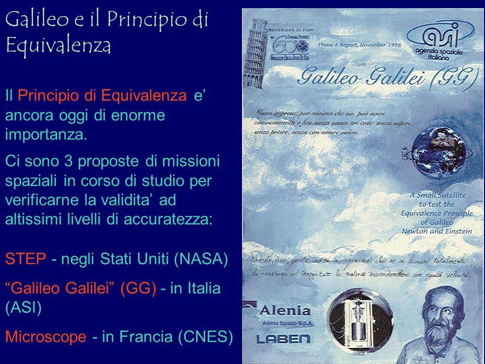 Galileo e il Principio di Equivalenza Il Principio di Equivalenza e ancora oggi di enorme importanza. Ci sono 3 proposte di missioni spaziali in corso