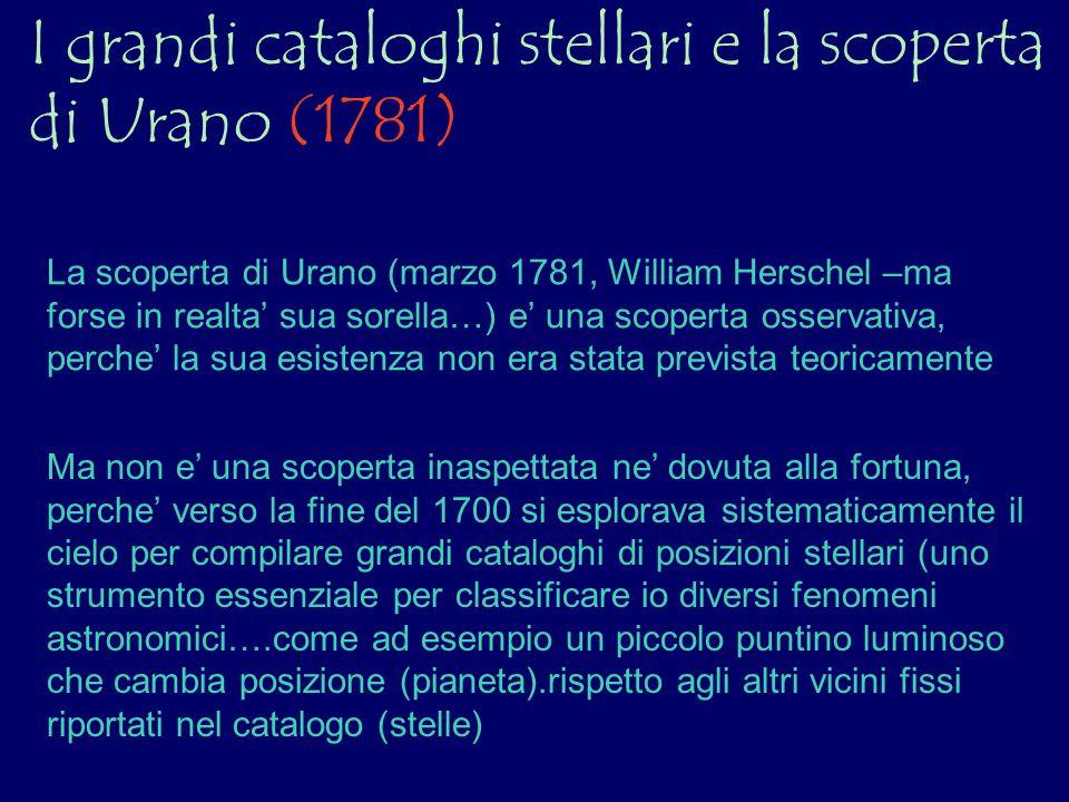 I grandi cataloghi stellari e la scoperta di Urano (1781) La scoperta di Urano (marzo 1781, William Herschel –ma forse in realta sua sorella…) e una s