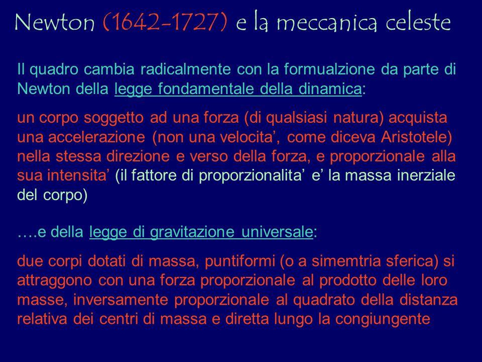 Newton (1642-1727) e la meccanica celeste Il quadro cambia radicalmente con la formualzione da parte di Newton della legge fondamentale della dinamica