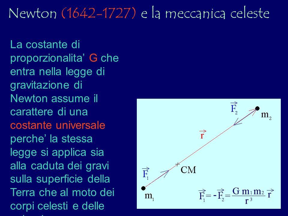 La costante di proporzionalita G che entra nella legge di gravitazione di Newton assume il carattere di una costante universale perche la stessa legge