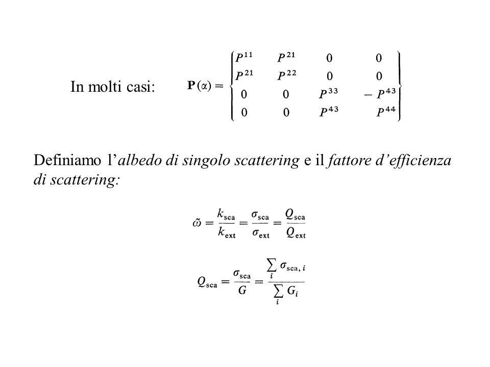 Definiamo lalbedo di singolo scattering e il fattore defficienza di scattering: In molti casi: