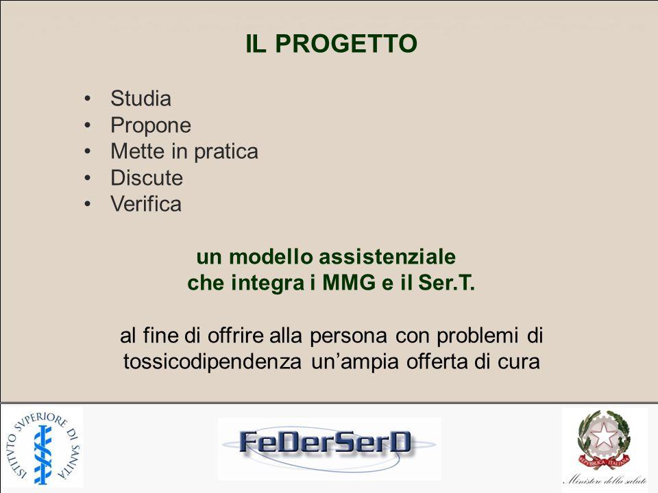 IL PROGETTO Studia Propone Mette in pratica Discute Verifica un modello assistenziale che integra i MMG e il Ser.T. al fine di offrire alla persona co
