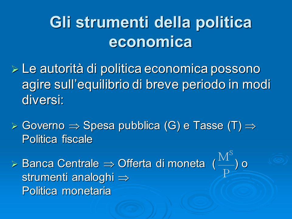 Gli strumenti della politica economica Le autorità di politica economica possono agire sullequilibrio di breve periodo in modi diversi: Le autorità di
