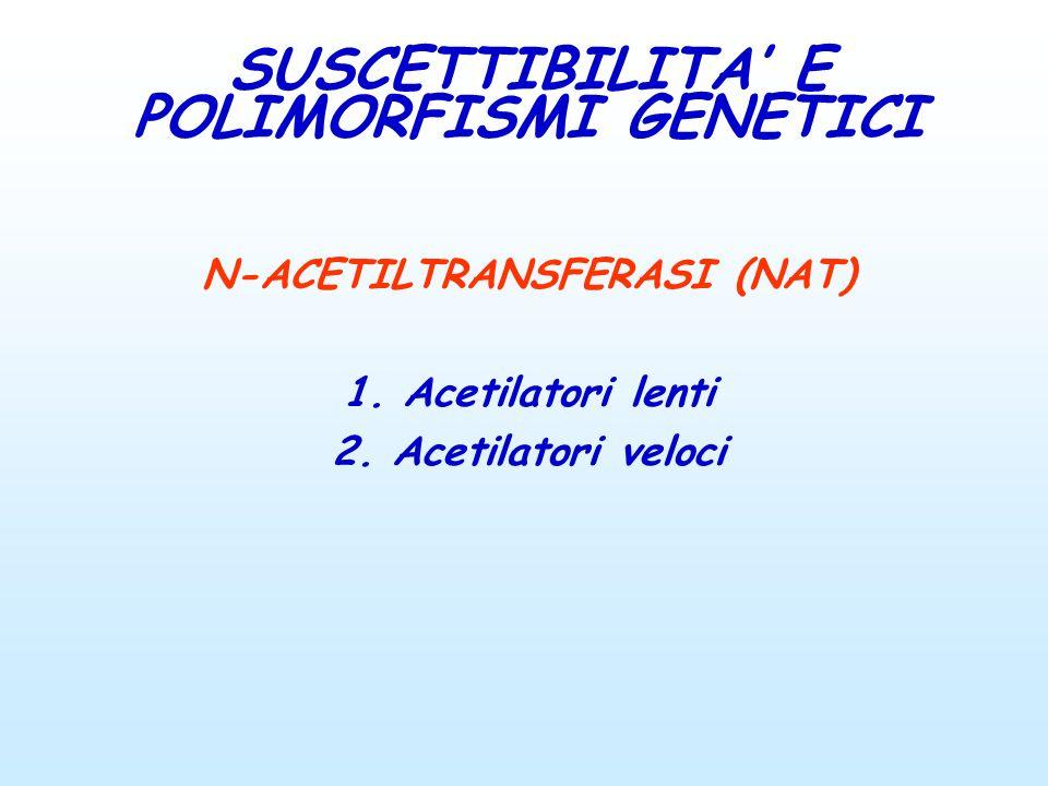 N-ACETILTRANSFERASI (NAT) 1. Acetilatori lenti 2. Acetilatori veloci SUSCETTIBILITA E POLIMORFISMI GENETICI