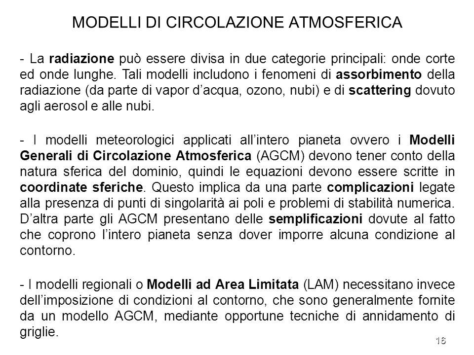 16 MODELLI DI CIRCOLAZIONE ATMOSFERICA - La radiazione può essere divisa in due categorie principali: onde corte ed onde lunghe. Tali modelli includon