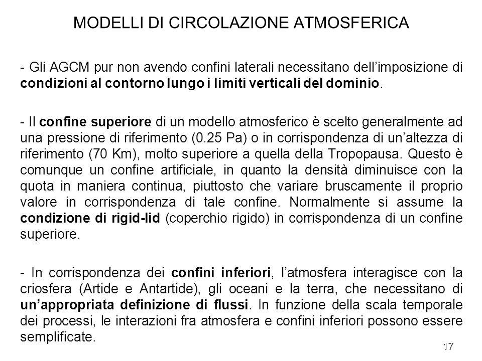 17 MODELLI DI CIRCOLAZIONE ATMOSFERICA - Gli AGCM pur non avendo confini laterali necessitano dellimposizione di condizioni al contorno lungo i limiti