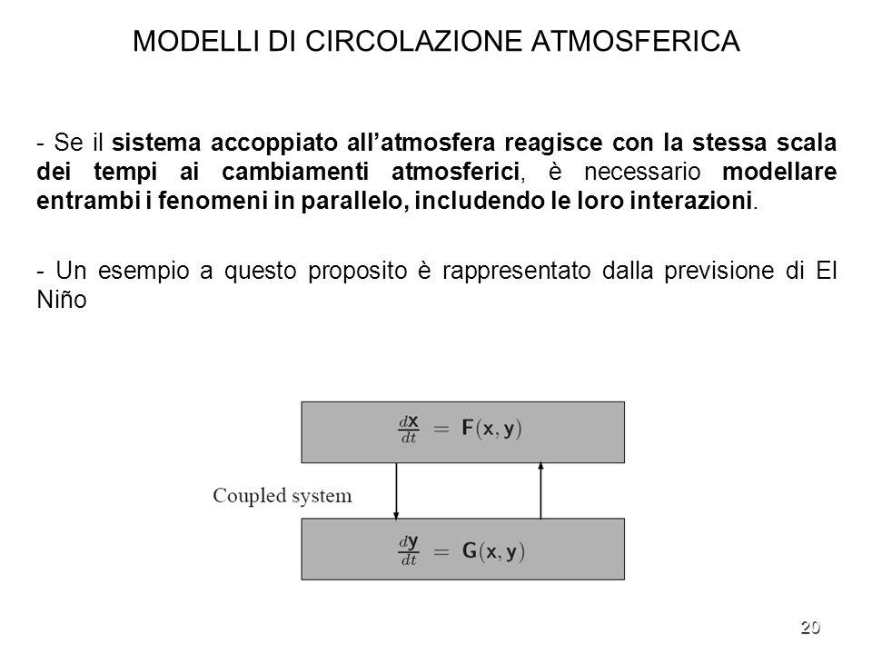 20 MODELLI DI CIRCOLAZIONE ATMOSFERICA - Se il sistema accoppiato allatmosfera reagisce con la stessa scala dei tempi ai cambiamenti atmosferici, è ne