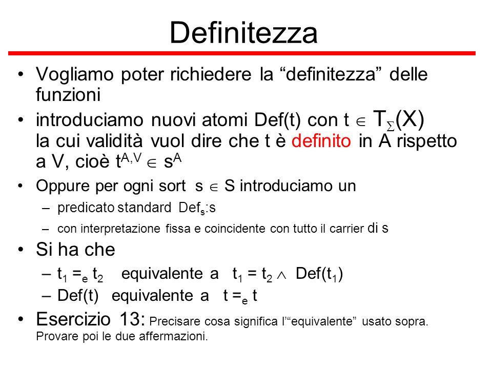 Definitezza Vogliamo poter richiedere la definitezza delle funzioni introduciamo nuovi atomi Def(t) con t T (X) la cui validità vuol dire che t è defi