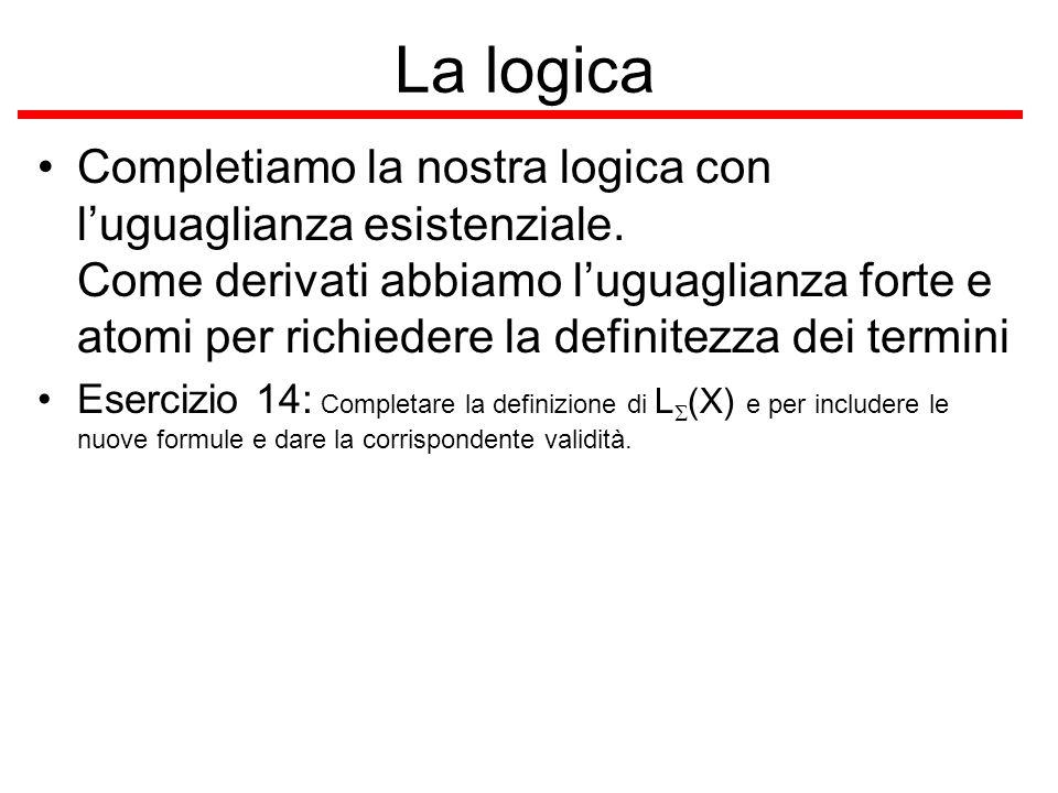 La logica Completiamo la nostra logica con luguaglianza esistenziale. Come derivati abbiamo luguaglianza forte e atomi per richiedere la definitezza d