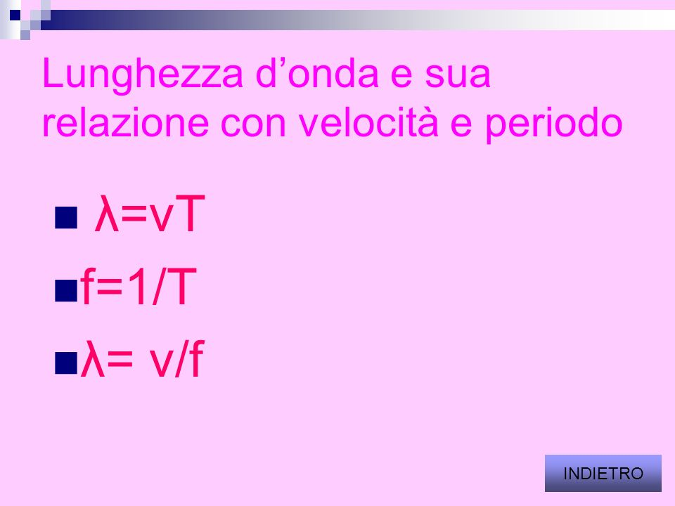 Lunghezza donda e sua relazione con velocità e periodo λ=vT f=1/T λ= v/f INDIETRO