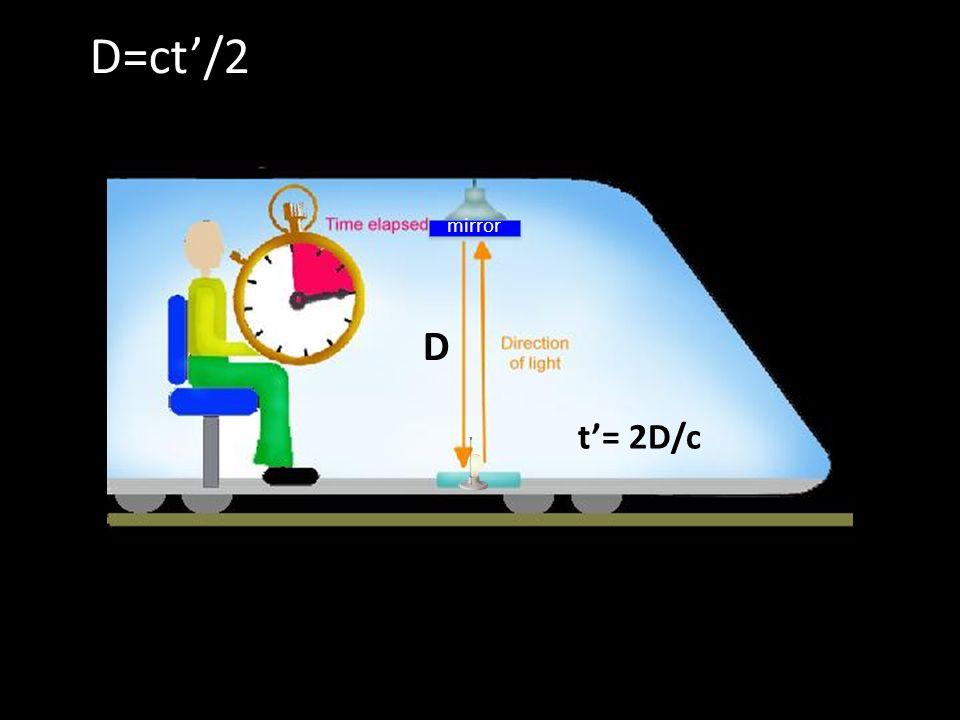 D=ct/2 D t= 2D/c mirror