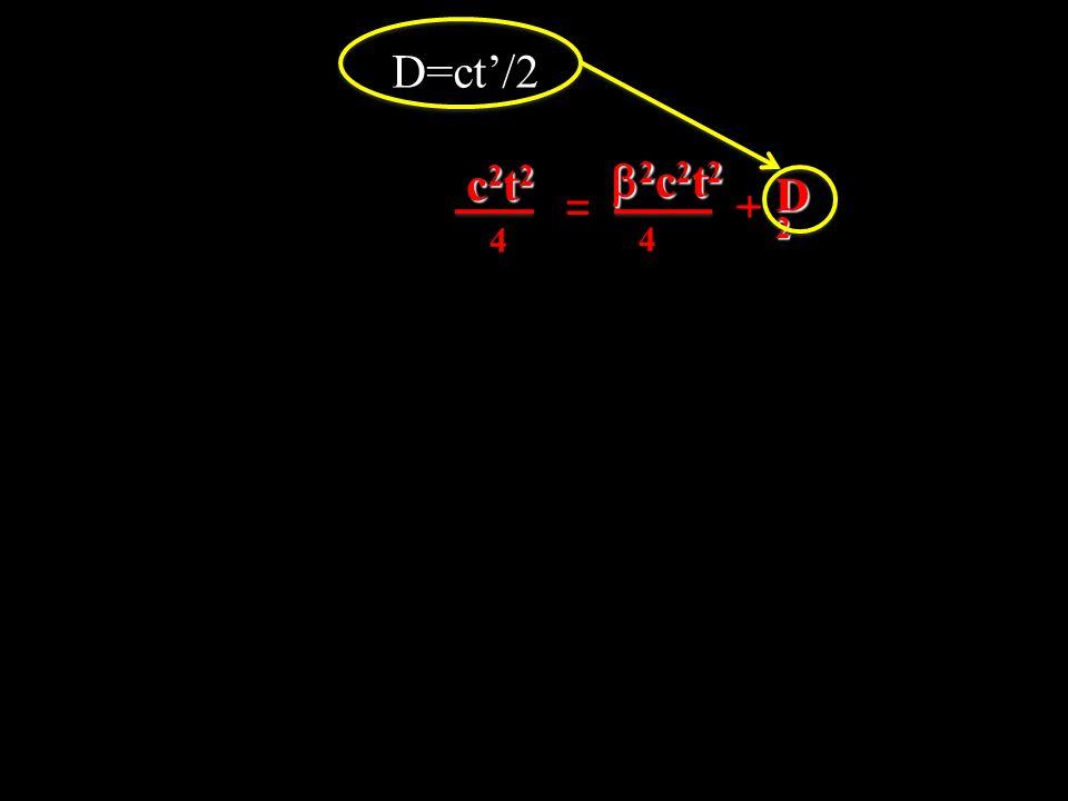 D=ct/2 c2t2c2t2c2t2c2t2 2 c 2 t 2 2 c 2 t 2 D2D2D2D2 4 4 = _ +